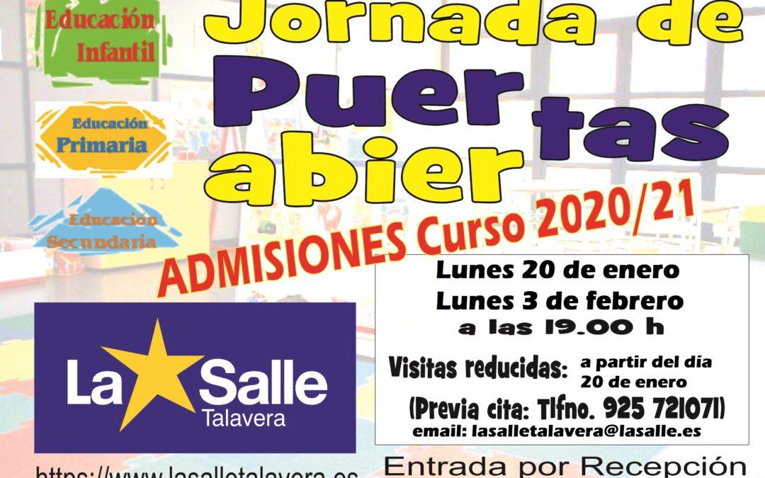JORNADAS DE PUERTAS ABIERTAS. Admisiones curso 2020/2021